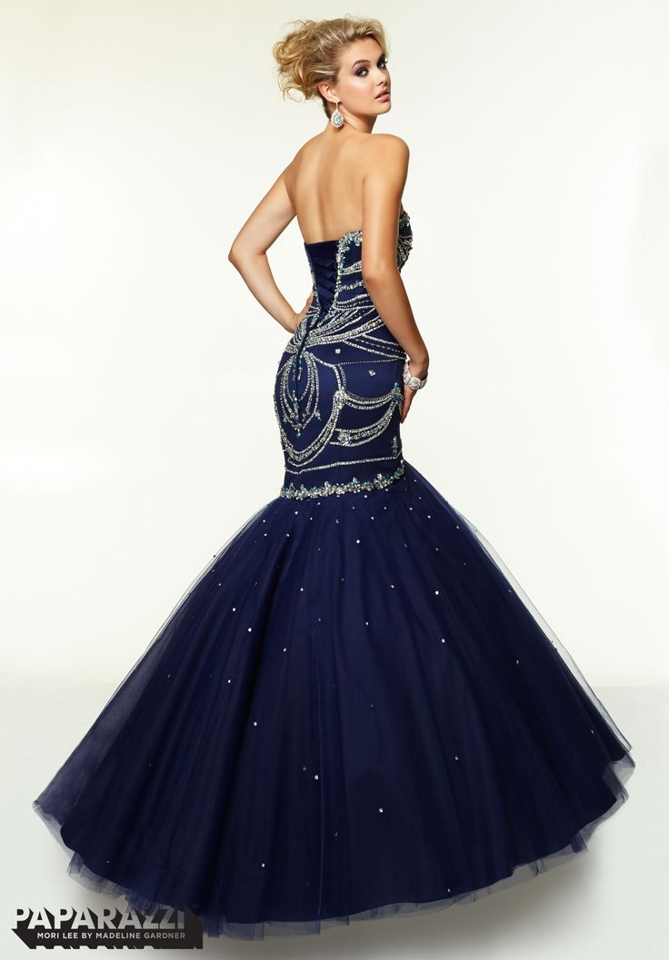 Morilee 97096 prom dresses gowns jeweled beading design for Midnight blue wedding dress