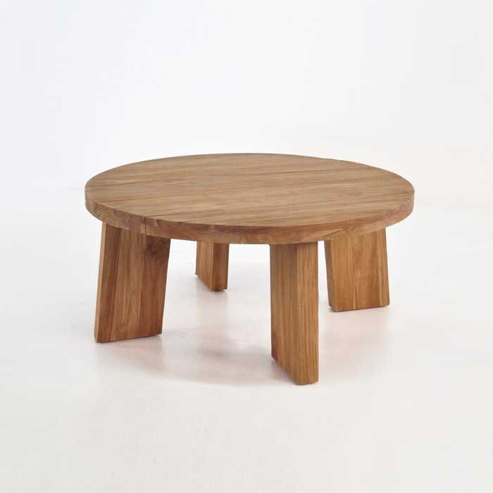 Strong And Sturdy This Round Teak Coffee Table Is Made From Reclaimed Teak The