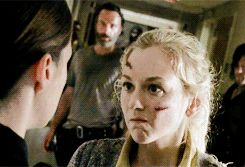 "The heavily promoted death in The Walking Dead's mid-season finale — RIP Beth (Emily Kinney), who died accidentally at the hands of Officer Dawn Lerner (Christine Woods) — was, without question, a major shocker. | Daryl's Cry Face Was The Most Heartbreaking Part Of The ""Walking Dead"" Mid-Season Finale"