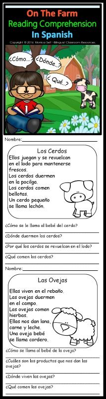 This product includes 13 Nonfiction reading passages in Spanish about 13 different farm animals:   Los Cerdos Las Vacas Los Caballos Las Ovejas Las Cabras Los Perros Los Patos Los Gatos Las Gallinas Los Ratones Los Pavos Los Conejos Las Ranas  Each worksheet has a simple text, a picture connected to the story and four comprehension questions about the text. You can practice reading and comprehension with these worksheets.