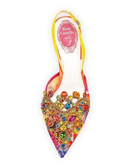 Multi-Lace Embellished Slingback Pump