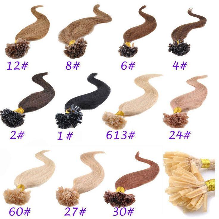 Кератин ногтей придерживайтесь кончик ногтя реальные наращивание волос 0.8 г / нити 100 strands / pack темный цвет светлый цвет 10 '' 12 '' 14 '' 16 '' 18 '' 20