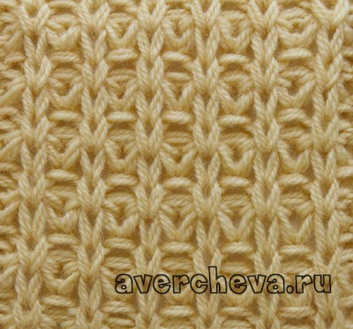 Knit stitch pattern Uneven no of sts. Row 1: *p1, yo, s next st purlwise*, p1. Row 2: *k1, yo, s next s with the yo (the st is with 2 yo's)*, k1. Row 3: *p1, k1*, p1. Row 4: *k1, p1*, k1.