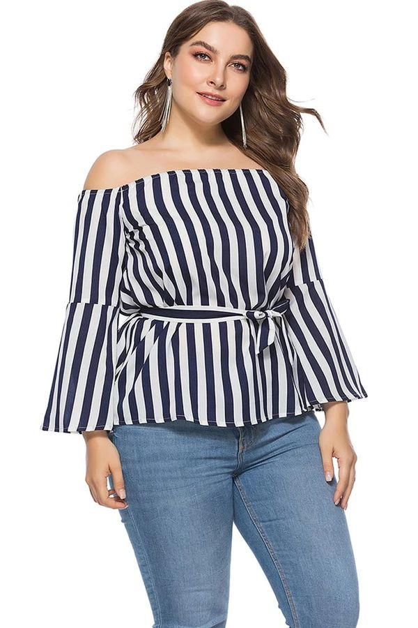 Plus Size Off-the-shoulder Stripe Blouse 1