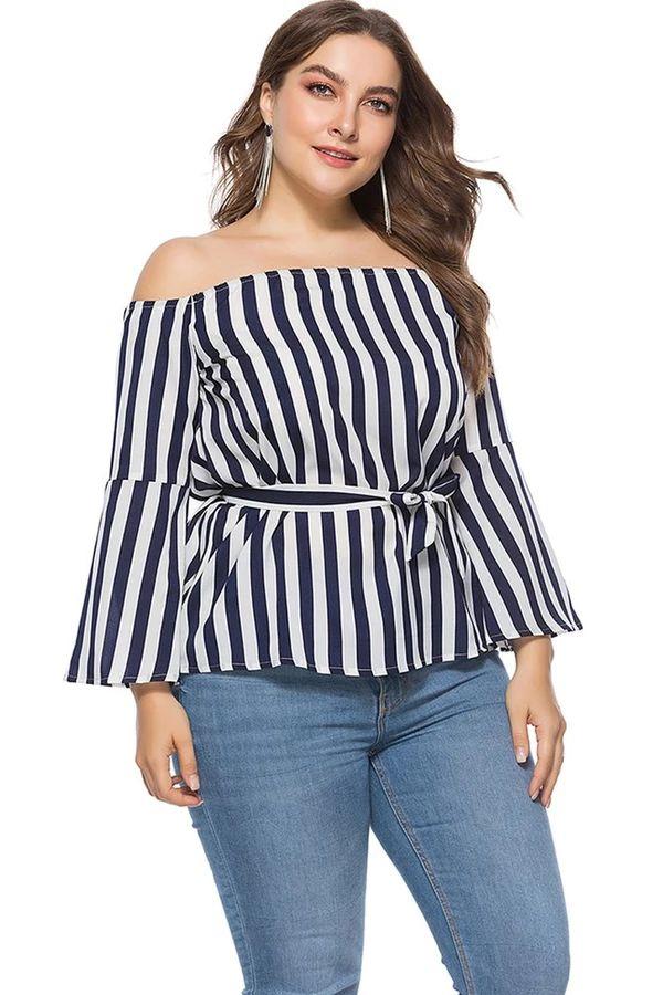 Plus Size Off-the-shoulder Stripe Blouse 1