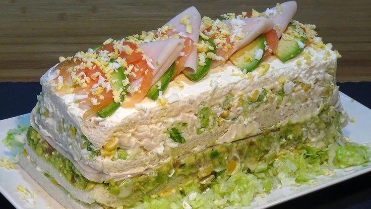 Receta Pastel frio de pollo o sandwichón de pollo - Recetas de cocina, p...
