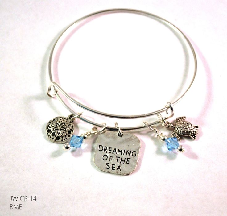 Ocean Sea Turtle and Sea Star Bangle Bracelet with Charms and Swarovski Crystals