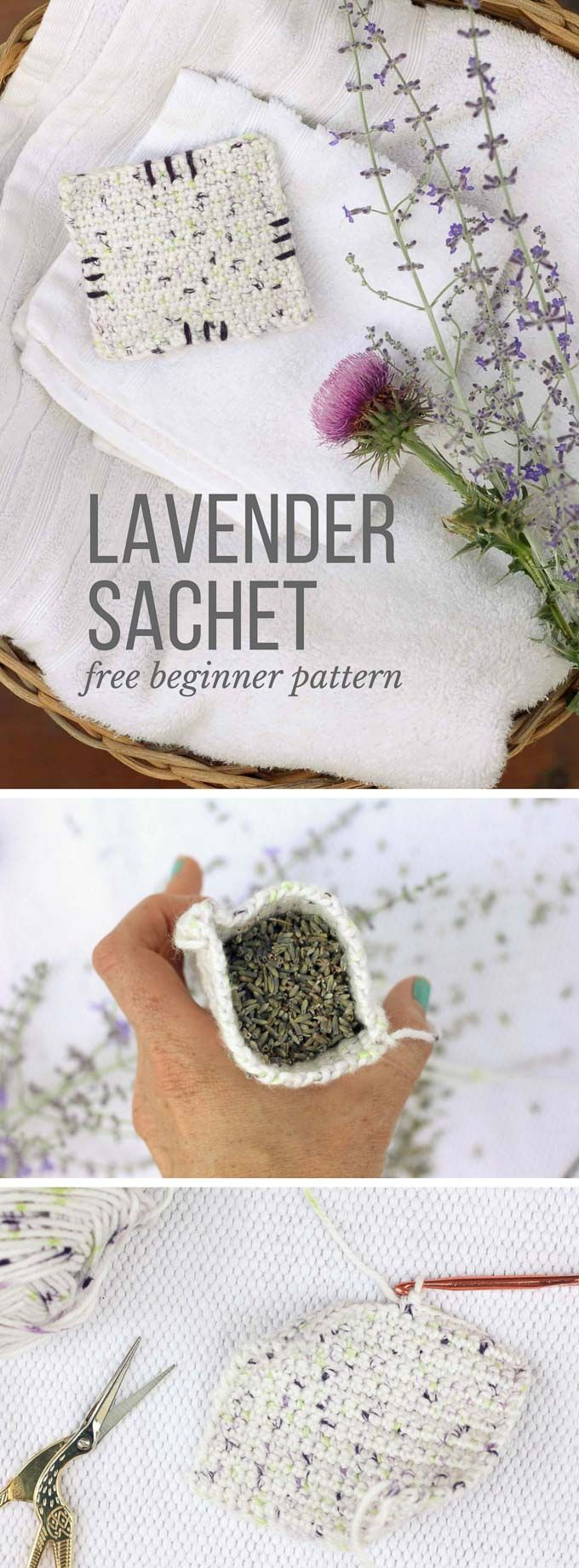 "This free crochet pattern is perfect for beginners and a great way to use up dried lavender from your garden! Pop one of these crochet lavender sachets in the dryer and you've got natural and inexpensive way to keep your laundry smelling fresh! Pattern features ""I Love This Cotton"" yarn. 