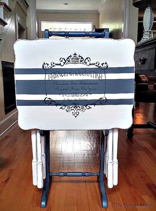 french country grain sack tv trays, how to, living room ideas, painted furniture