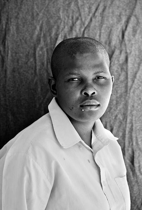 A member of the South African lesbian community stands for a photographic portrait. This is one of several portraits by Zanele Muholi, who has been photographing and documenting the community for several years. I found these in The New Yorker, which has an article on corrective rape practices in what was the first country to include sexual orientation rights in its constitution.