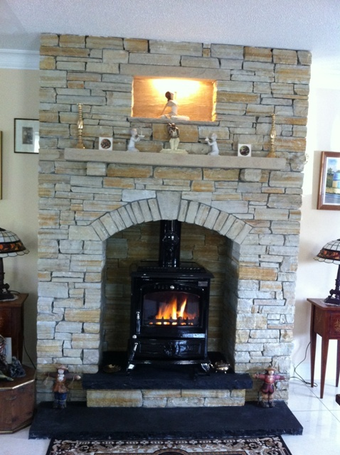 Gold & Silver Donegal Quartzite Natural Stone with a Black Limestone  Hearth. www.mcmonaglestone - 17 Best Images About Natural Stone Fireplaces - McMonagle Stone On