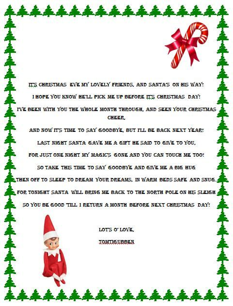 Elf on the Shelf Goodbye Poem