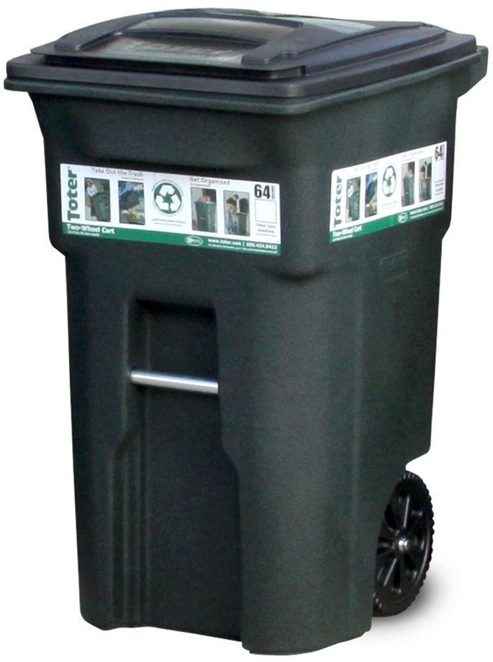 Toter 1 cu yd Gray Universal Tilt Truck Garbage Waste Receptacle Cleaning Tool