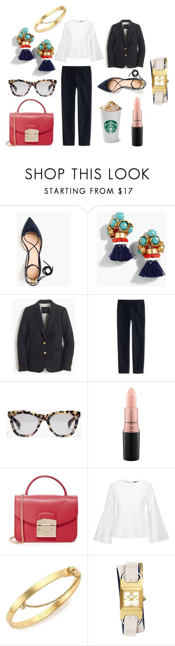 """""""What to Wear To Work Tomorrow"""" by stylists-1 on Polyvore featuring J.Crew, MAC Cosmetics, Furla, W118 by Walter Baker, Eddie Borgo and Tory Burch"""