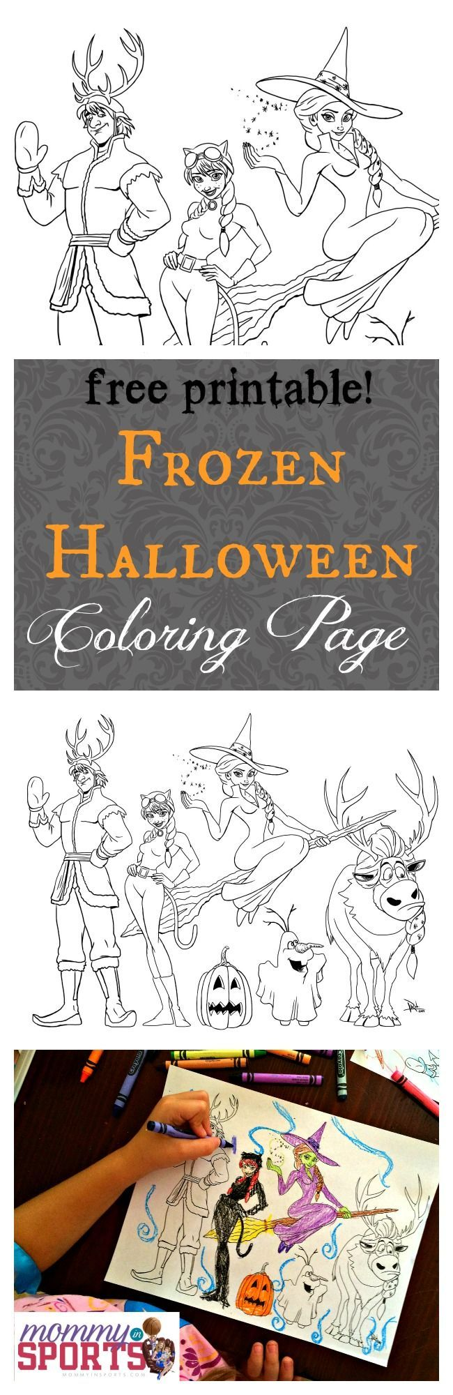 a FREE printable! Frozen Halloween Coloring Page. Exclusively at http://mommyinsports.com! #FROZEN #Halloween #freeprintable