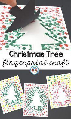unglaublich Christmas Tree Thumbprint Art