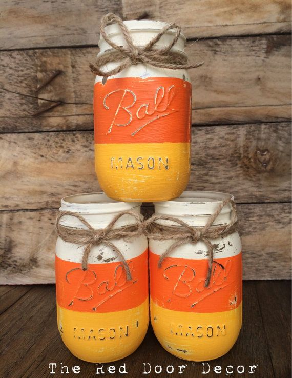 Halloween Candy Corn Rustic Chalk Painted by TheRedDoorDecor14