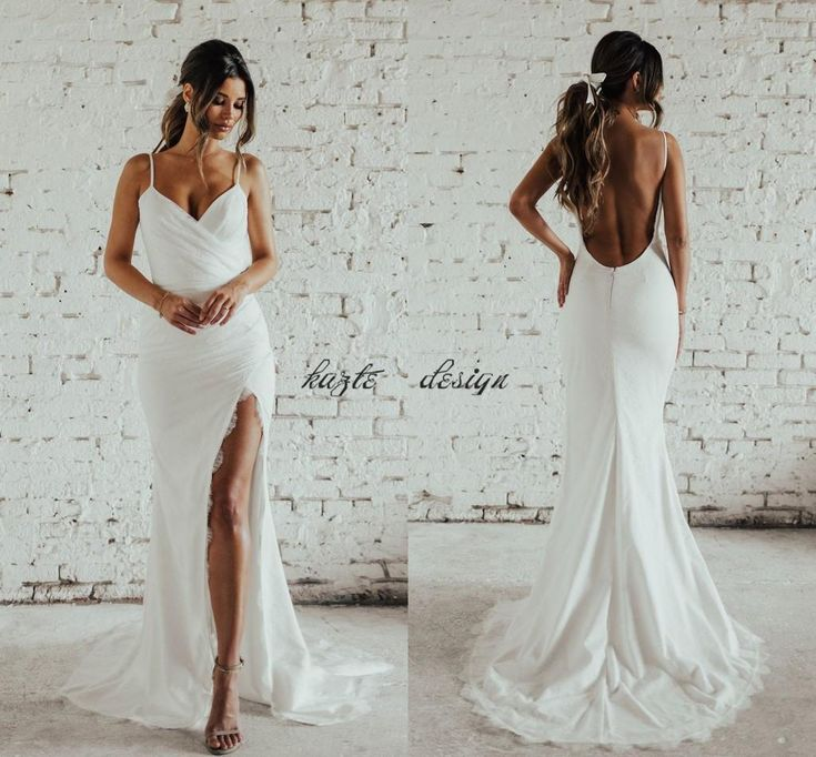 Simple Desigin Katie May Beach Mermaid Wedding Dresses With Slit 2018 Full Lace Spaghetti Backless Holiday Garden Bridal Dress Cheap