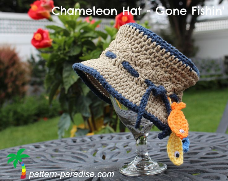 Chameleon Hat - Gone Fishin' - free crochet pattern in newborn - adult sizes by Maria Bittner