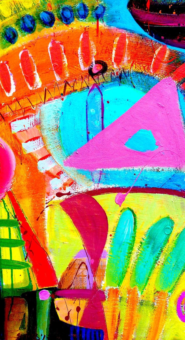 'Regatta Craze' Mixed media, canvas on board 44cm w x 73cm h 2013