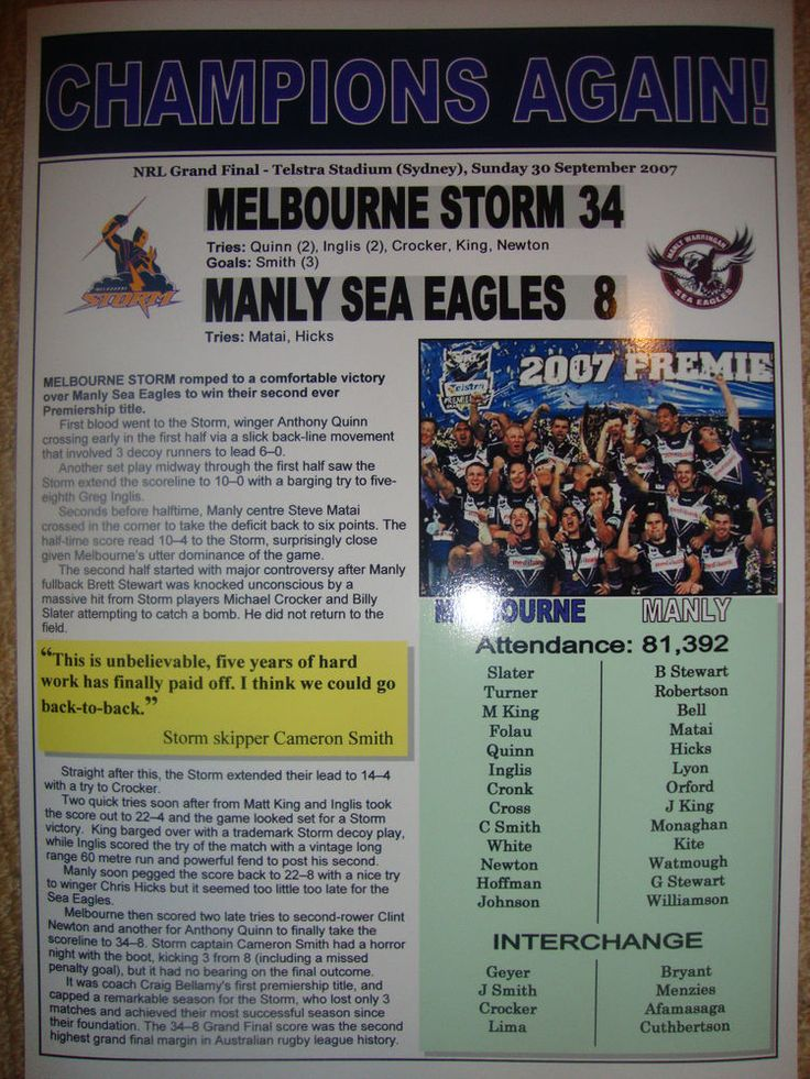 MELBOURNE STORM 34 MANLY SEA EAGLES 8 - 2007 NRL GRAND FINAL - SOUVENIR PRINT