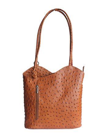 Multi-Way Tan Ostrich Leather Shoulder Bag/Backpack