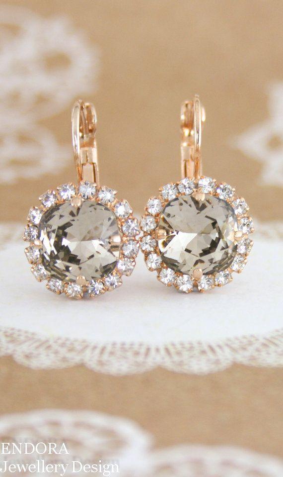 Swarovski Greige | greige crystal earrings | rose gold earrings | taupe wedding | greige wedding | greyed beige | warm grey | www.endorajewellery.etsy.com