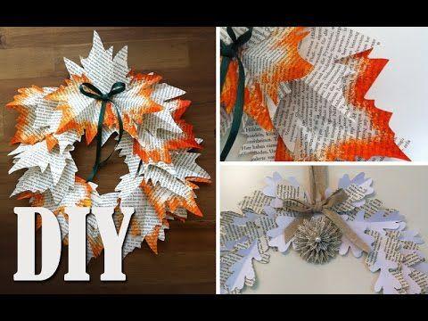 DIY: Deko Herbstkranz aus Buchseiten selber machen | Deko Kitchen - YouTube