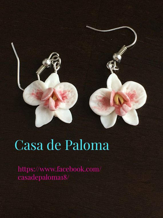 White orchid earrings  polymer clay cold porcelain by CasaDePaloma