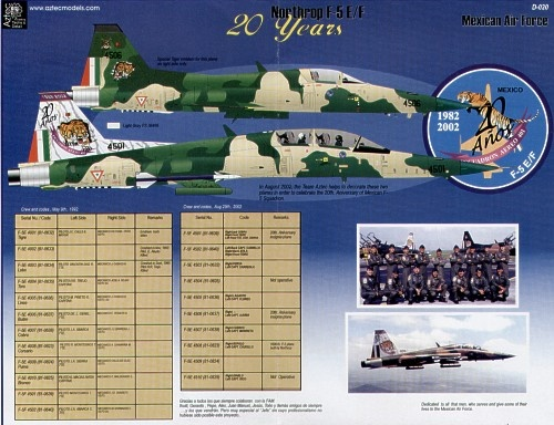 F-5E/F Tigers. 20 Years in Mexican Air Force service. All in versions of SEA scheme of FS34079, 34102, 30279 with numbers, national insignia, stencil data etc to make any F-5 in service including ones with Tigers on the fin and a special F-5F 20th Anniversary scheme with a large Tiger tail etc. Something different