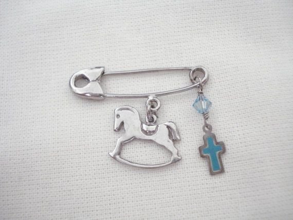 Horse with cross pin Baby safety pin Silver pin by Poppyg on Etsy