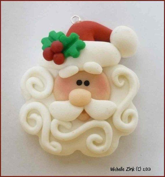 NEW Polymer Clay Swirly Beard Santa Pendant by michellesclaybeads, $3.50