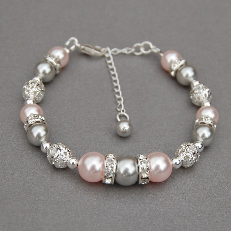 Pink and Silver Pearl Bracelet, Pink Silver Wedding, Blush Pink and Grey Jewelry, Pastel Wedding, Bridesmaid Jewelry, Spring Wedding by AMIdesigns on Etsy