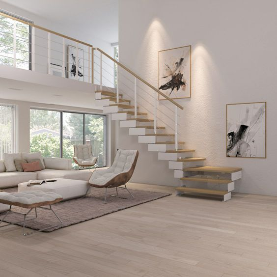 Viertelgewendelte-Treppe / Holzstufen / Stahlstruktur / ohne Setzstufe - Composity - RINTAL