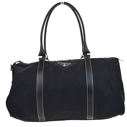649e1fe6241 Save big on the Prada Logos Shoulder In Italy 09d898 Black Nylon Leather  Weekend/Travel Bag! This travel bag is a top 10 member favorite on Tradesy.