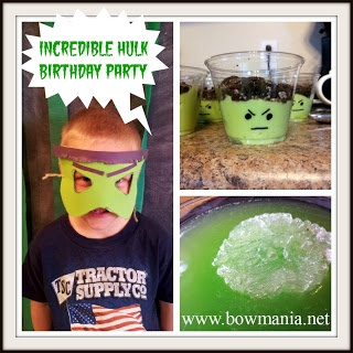 Bowmania: An Incredible Hulk Birthday Party  http://www.bowmania.net/2013/02/an-incredible-hulk-birthday-party.html#