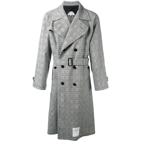 Maison Margiela Re-edition checked trench coat (132,025 PHP) ❤ liked on Polyvore featuring men's fashion, men's clothing, men's outerwear, men's coats, beige, mens trench coat, mens long trench coat, mens double breasted trench coat, mens long coat and mens double breasted long coat