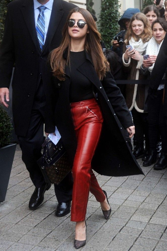 Selena Gomez in red leather pants