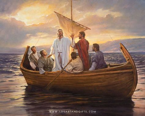 What Manner Of Man – Painting by Del Parson | This painting depicts Christ teaching His apostles on a small fishing boat. Painting by Del Parson.
