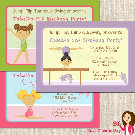 PRINTABLE Girl Gymnastic Party Invitations by yourblissfulday, $10.00