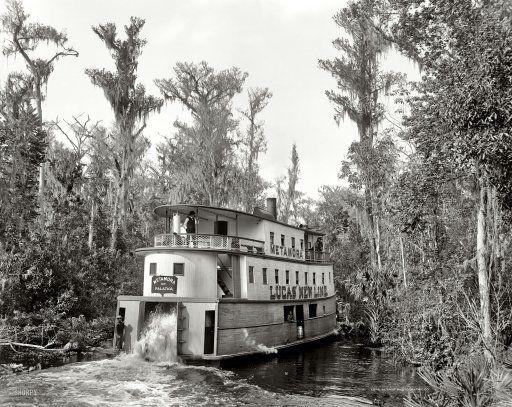 "Florida circa 1902. ""On the Ocklawaha."" Steamboat Metamora of Palatka. Photo by William Henry Jackson. Detroit Publishing glass negative."