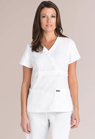 Grey's Anatomy 3 Pocket Mock Wrap #4153  	 Discover the ultimate fashion and fabric of the most popular scrubs- Grey's Anatomy! Exceptional fit and luxurious one-of-a-kind fabrics these scrubs perfect for groups & individuals in the dental, nursing, or medical professions.Perfectly designed with princess seams that will flatter and slenderize your figure.