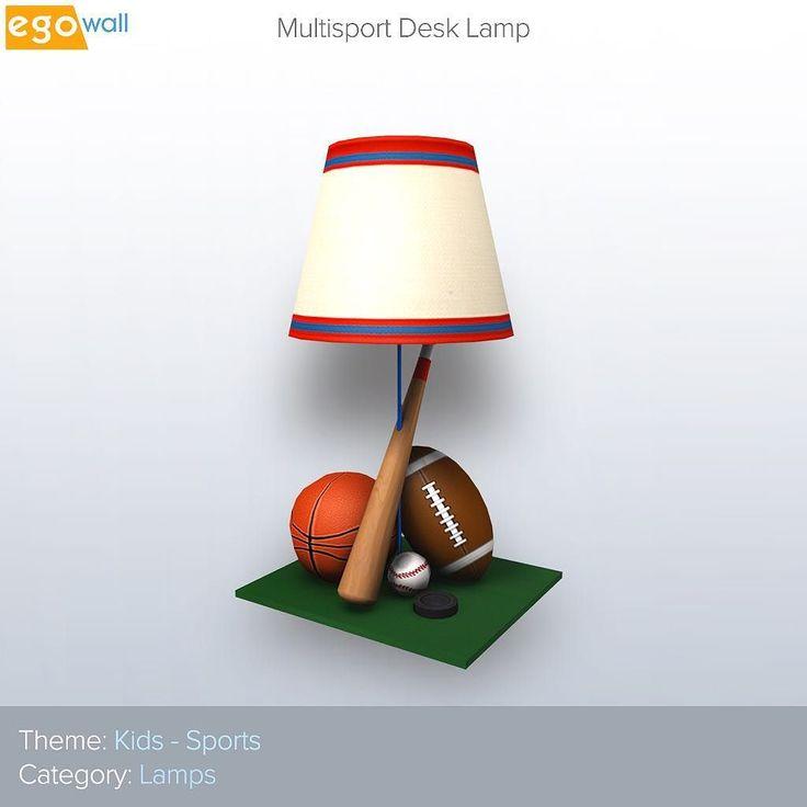 Kids Furniture - Multisport Desk Lamp  #thursday #kids #furniture #lamp #light #sports #baseball #bat #basketball #football #interior #design #interiordesign #decor #interiordecor #3d #game #games #gamer #gaming #videogame #videogames #gamedev #betherealyou