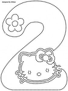 hello kitty number 2. trace worksheet