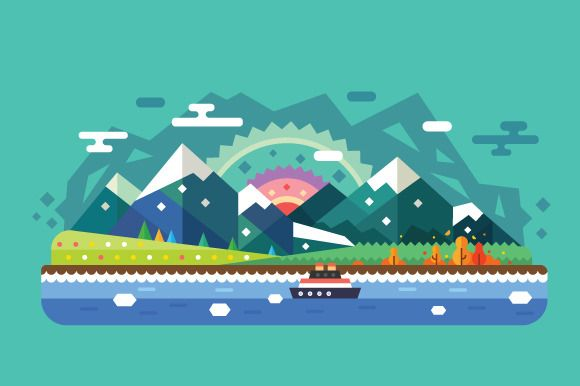 Nice Alaska Mountain Skyline. by TastyVector on @creativemarket