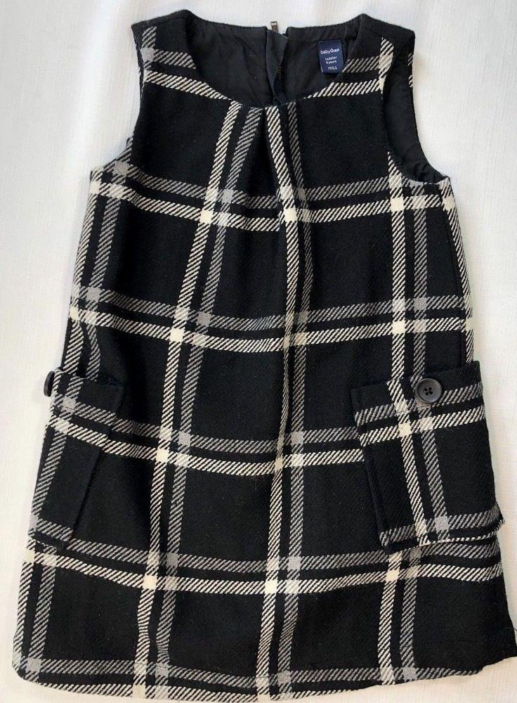 996acb6c08da Gap Baby Girls 3 Black and White Plaid Jumper Dress Wool Blend  Gap ...