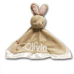 Personalized Bunny Rabbit Lil Snugglers Baby Snuggle Blanket - 13 Inches