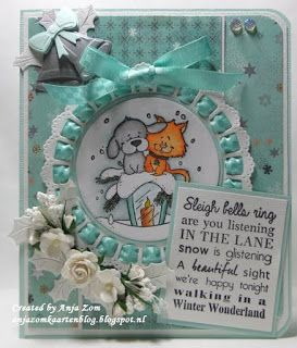 Handmade card by DT member Anja with Craftables (CR1343), Ribbon Doily with Rosette (CR1350), Clear stamp Cats & Dogs (CD3503) and Winter Wonderland (CS0949) from Marianne Design