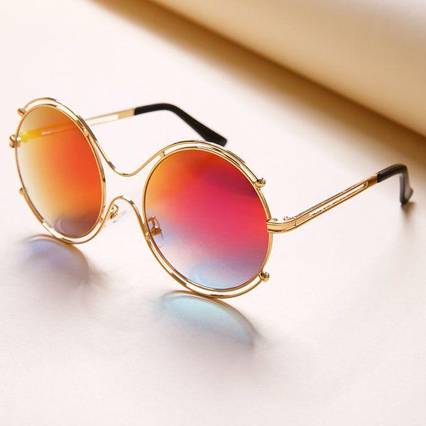 Fashion Tide Woman Hollow Double Ring Anti-UV Sunglasses Leisure Vintage HD Glasses Eyewear