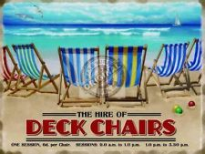 HIRE OF DECK CHAIRS SEASIDE BEACH VINTAGE RETRO LARGE STEEL WALL PLAQUE TIN SIGN